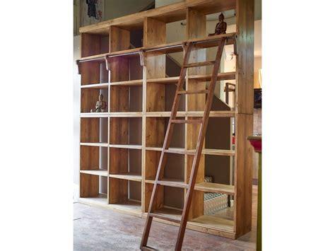 libreria in offerta libreria nature in legno massello india con scala in