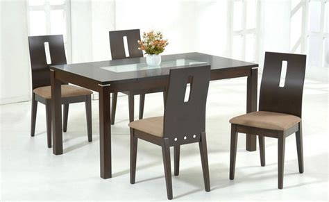 dining table sets modern stylish wooden and frosted glass top microfiber seats