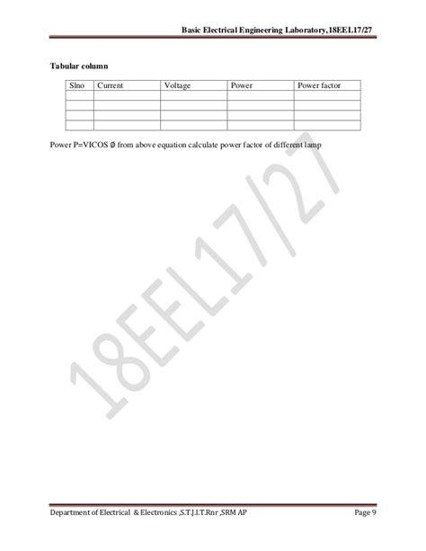 Basic Electrical Lab Manual Vtu