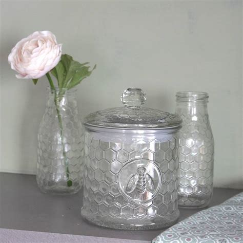Glass Kitchen Storage Canisters by Glass Honeycomb Storage Jar By Ella James