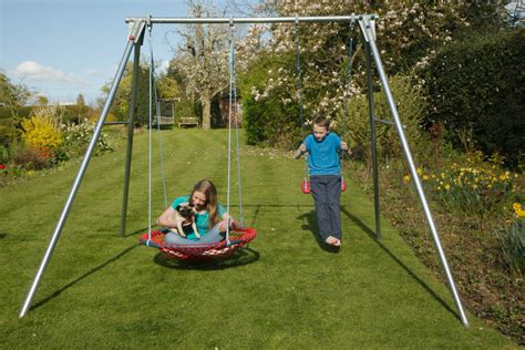 swinging with brave double swing set