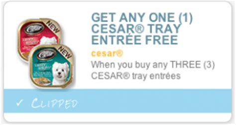 printable cesar dog food coupons buy 3 get 1 free cesar dog food coupon only 52 each