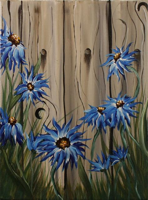 acrylic paint on wood ideas summer flowers on the fence step by step acrylic painting