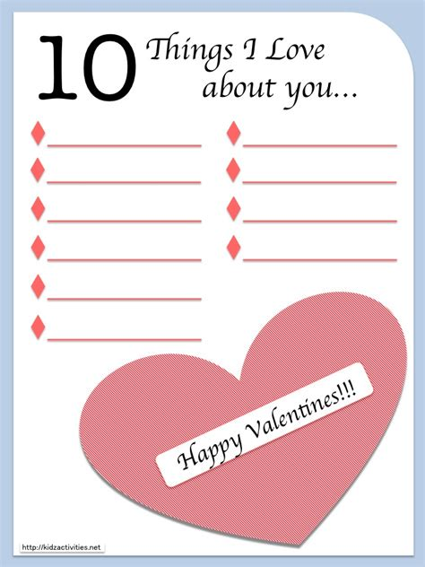 10 Free Activities To Enjoy by 10 Things I About You Free Printables By