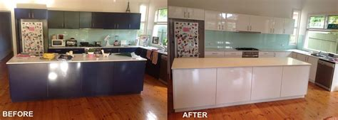 resurfaced kitchen cabinets before and after kitchen resurfacing for your tired benchtops cabinets