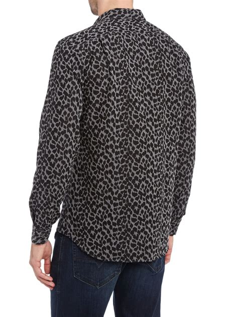 Leopard Print Sleeve Shirt diesel leopard print sleeve shirt in gray for lyst