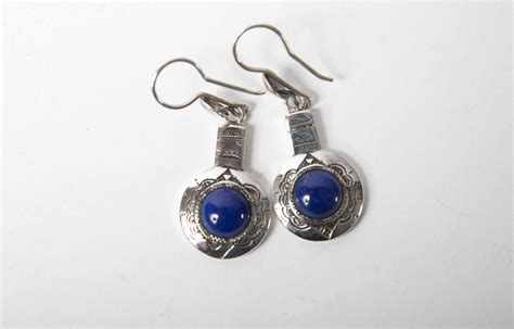 Handcrafted Silver Earrings - lapis handcrafted silver ensemble necklace bracelet