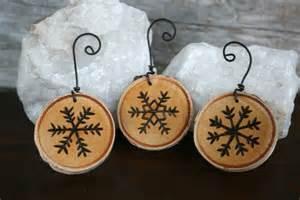 snowflake ornaments set of 3 woodburning on birch