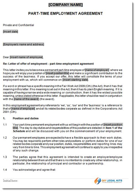 time employment contract template permanent part time employment contract template