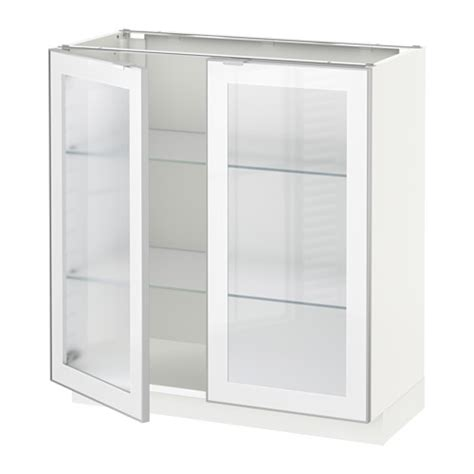 Lemari Kaca Dapur metod lemari dasar dengan 2 pintu kaca putih 80x37x80
