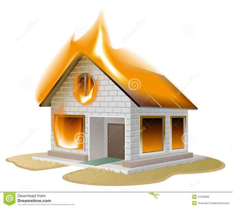house insurance fire white brick house on fire country cottage in danger stock