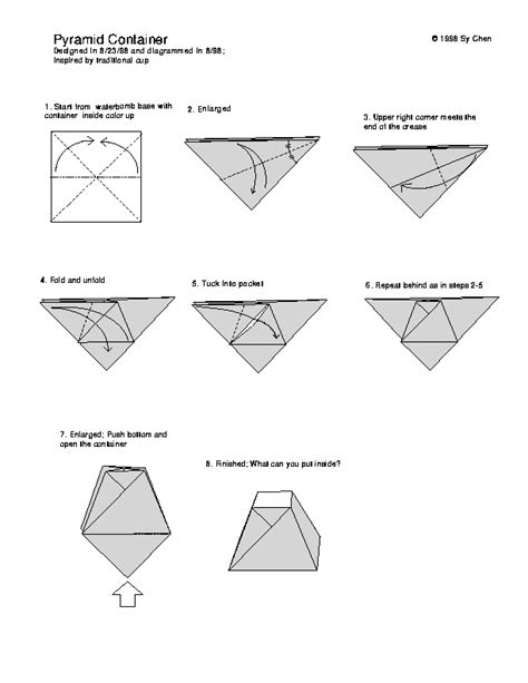 How To Fold Paper Into A Box - origami triangle pyramid pyramid container ah