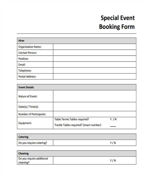event booking form template word booking form template free 28 images car rental