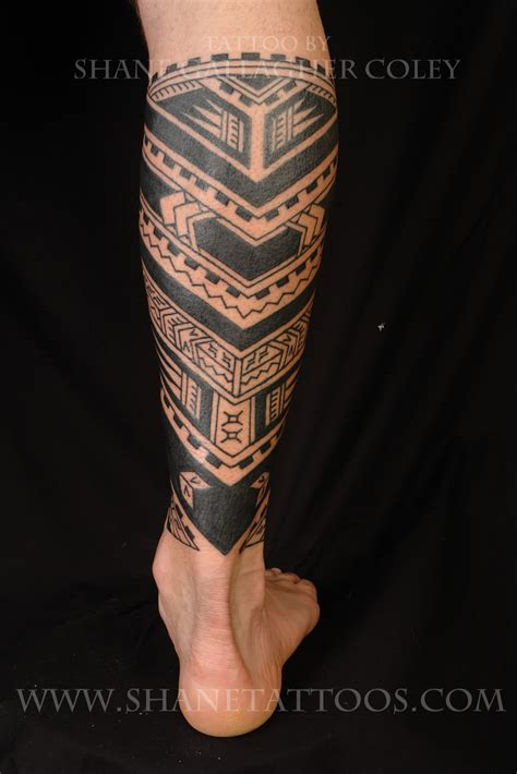 calf tattoos shane tattoos polynesian calf on