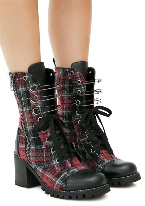 plaid boots current mood judy plaid combat boots dolls kill