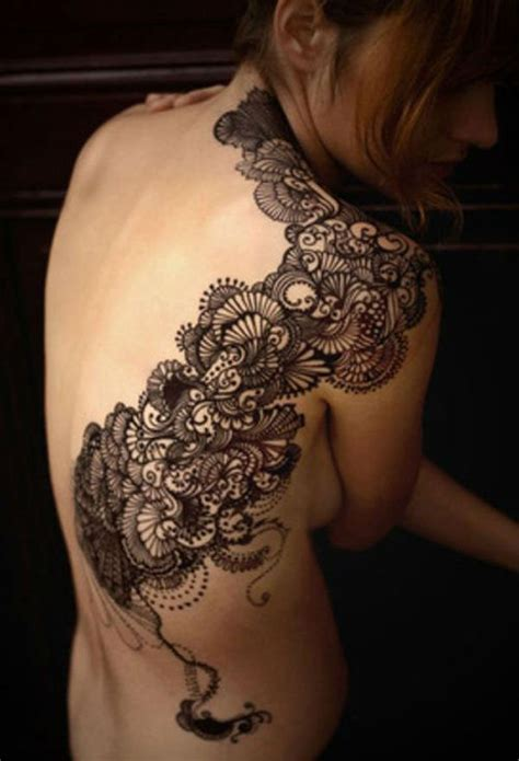 46 Feminine Lace Tattoo Designs Feminine Back Tattoos Designs