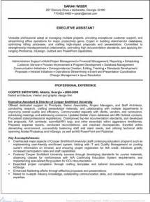 Exle Executive Assistant Resume by Executive Administrative Assistant Resume For Excel Pdf