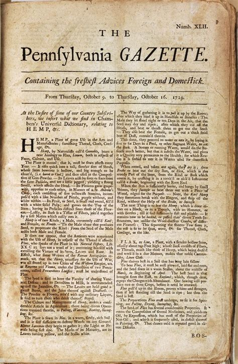Benjamin Franklin Essays by Benjamin Franklin His Newspaper Advised Readers On The Growth And Use Of Hemp