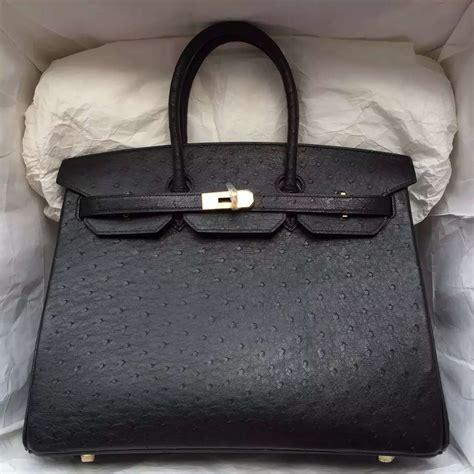 Hermes Birkin Ostrich Mini Black store hermes black ostrich leather birkin bag 35cm gold hardware hermes crocodile