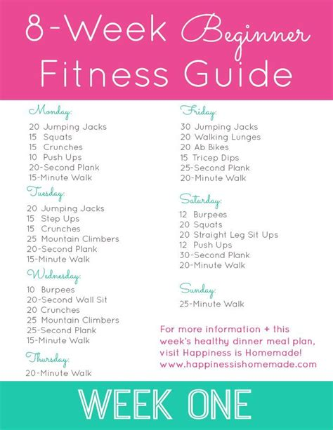 printable exercise program for beginners beginner fitness jumpstart week 1 homemade workout