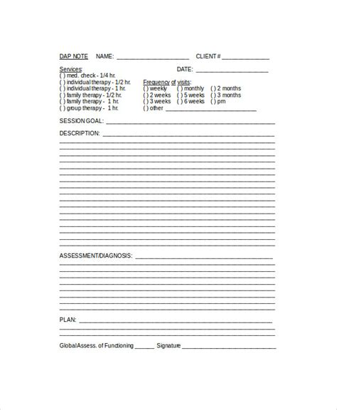 Dap Note Template 6 Sle Dap Notes Pdf Doc Sle Templates