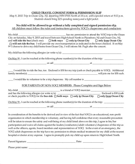 child travel consent form sle child travel consent form 8 free documents in