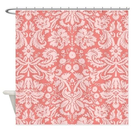 Coral Damask Curtains Coral Pink Damask Floral Shower Curtain By Clipartmegamart