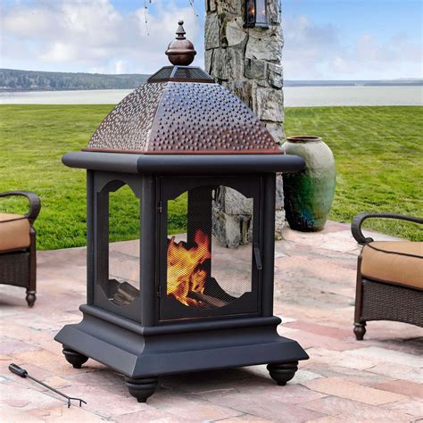 chiminea roof sunjoy st martin fireplace outdoor living outdoor