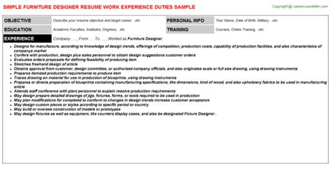 Furniture Designer Cover Letter by Resume Furniture Salesperson