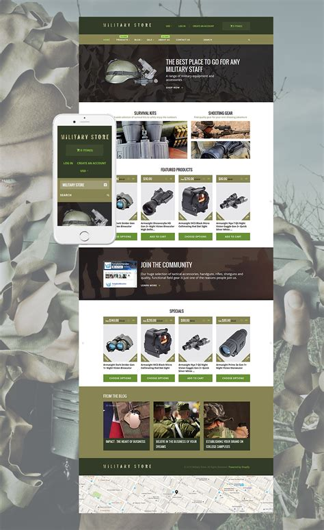 shopify themes for large inventory military shopify theme
