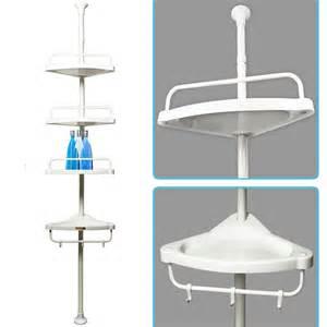 Telescopic Bathroom Shelves Telescopic Shower Shelf Caddy Bathroom Corner Storage Unit White Plastic Shoo Ebay