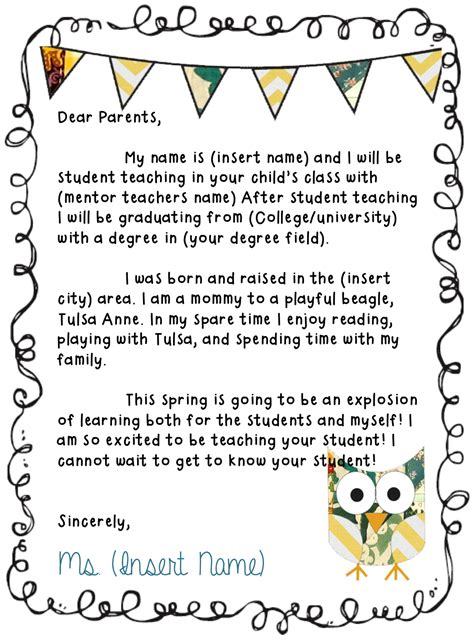 new year introduction needing to make a letter to send to parents to introduce
