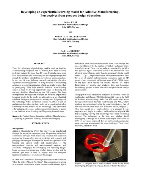 design for additive manufacturing pdf developing an experiential learning model for additive