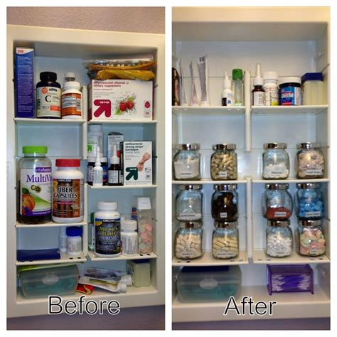 Organizing Bathroom Cabinets An Organized Medicine Cabinet With Ikea Spice Jars Things Pinterest Medicine Jars