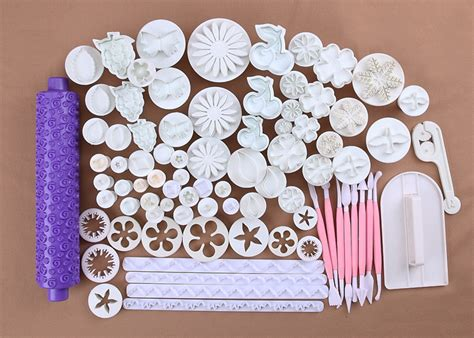 Sale 47 Pcs Decorating Tools Fondant Icing 4x icing flower cutters fondant sugarcraft plungers mold