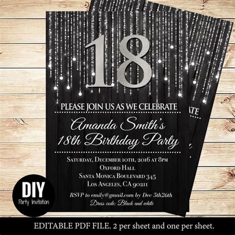 Black And Silver 18th Birthday Invitations By Diypartyinvitation 18th Birthday Invitation Templates