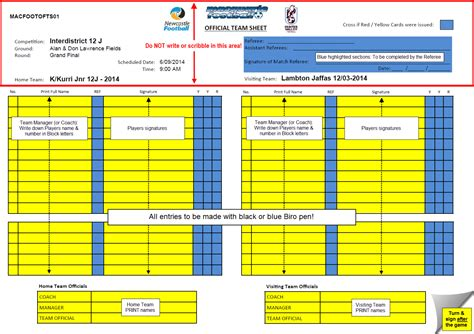 100 football referee card template score sheets