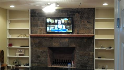 branford ct tv mounted brick fireplace w new