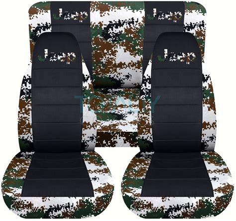 blue camo jeep jeep wrangler yj tj jk 1987 2017 camo black seat covers