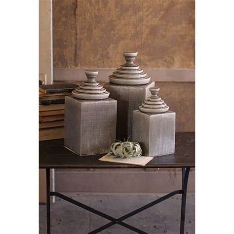 decorative kitchen canisters sets kalalou grey textured ceramic decorative canisters with