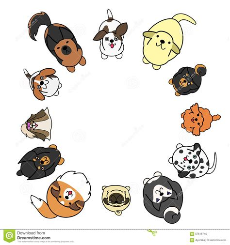 Circle Dogs looking up dogs in circle with copy space stock vector