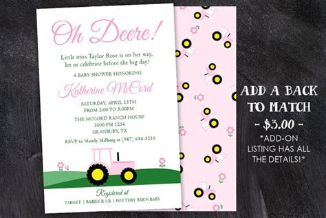 Pink Deere Baby Shower by Pink Deere Baby Shower Invitation With Back