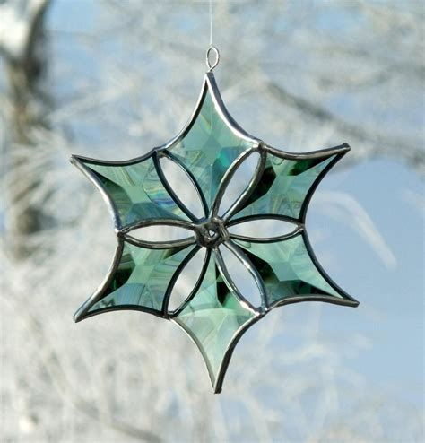 3d green beveled stained glass snowflake suncatcher ornament