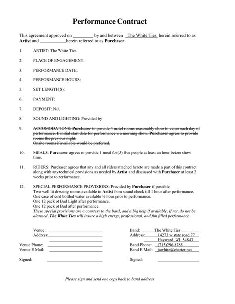 Performance Agreement Letter Exle Performance Contract In Word And Pdf Formats