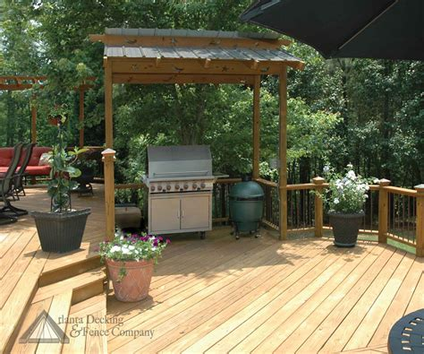 deck roof ideas   deck with barbecue shed from atlanta