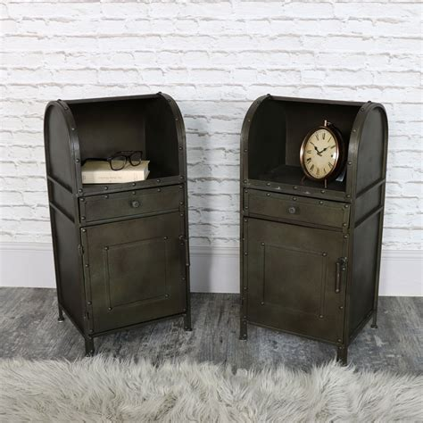 pair of industrial style metal bedside cabinets melody