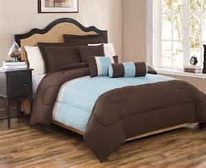 6 piece full tranquil chocolate and blue comforter set ebay