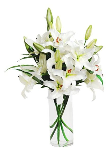 Cutting Lilies For A Vase by White Bouquet 8 Stems With Vase Flowersnhoney