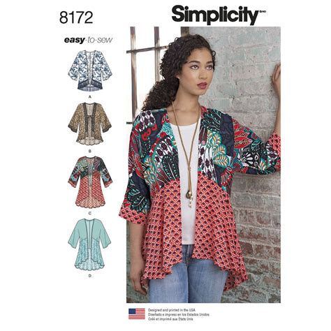 simple pattern sewing simplicity 8172 misses kimonos