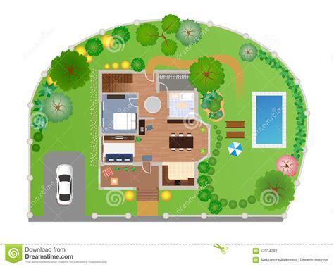 garden layout vector house with garden layout vector stock vector image